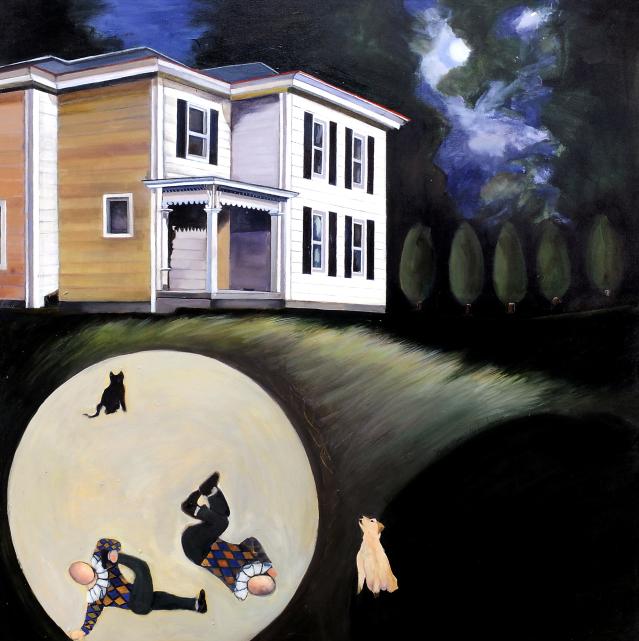 "Buck Moon, acrylic on canvas36x36"""
