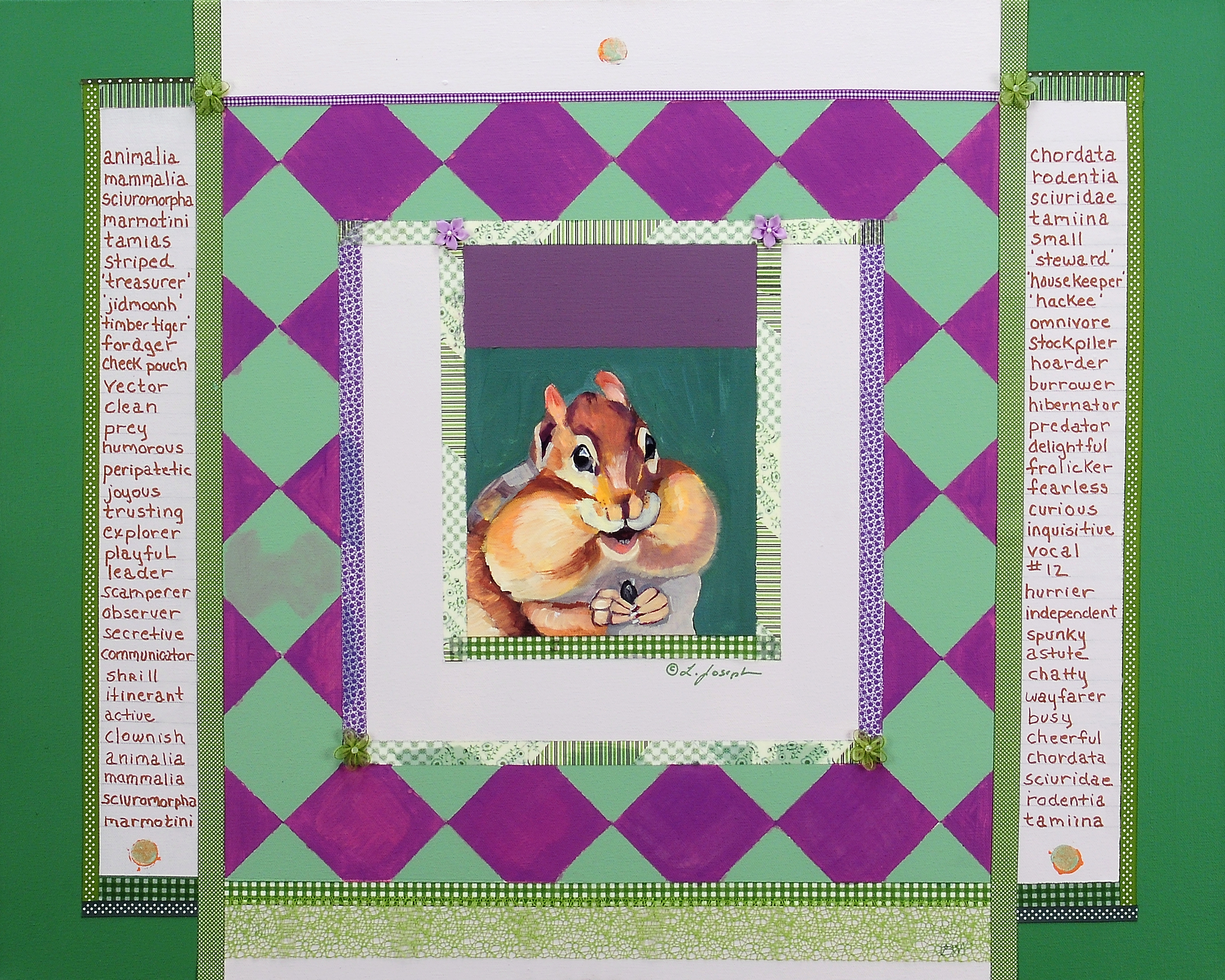 Chipmunk Speaks, mixed media on canvas 30x40""