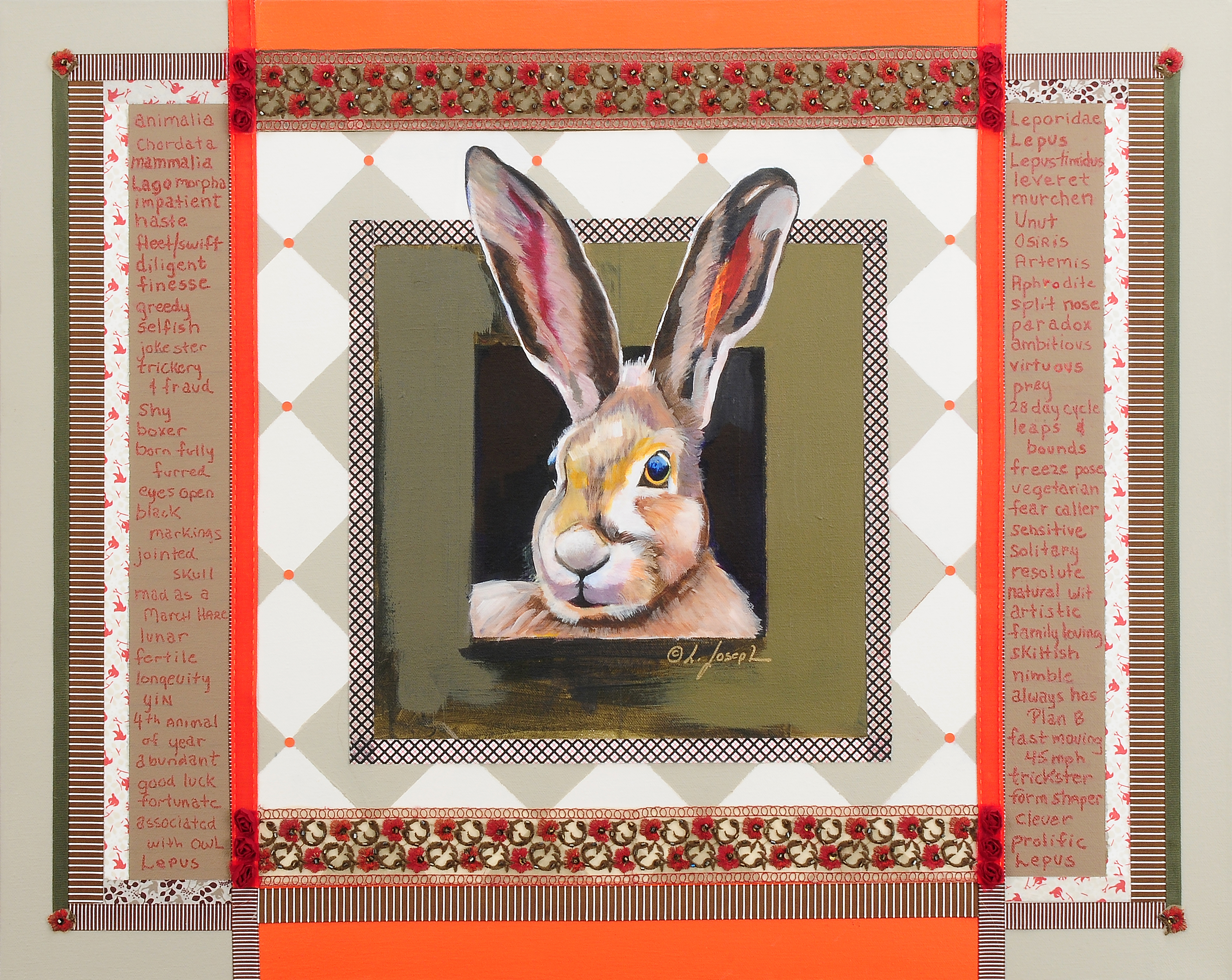 Hare Speaks, mixed media on canvas 30x40""