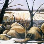 "Haybales, acrylic on canvas24x30"""