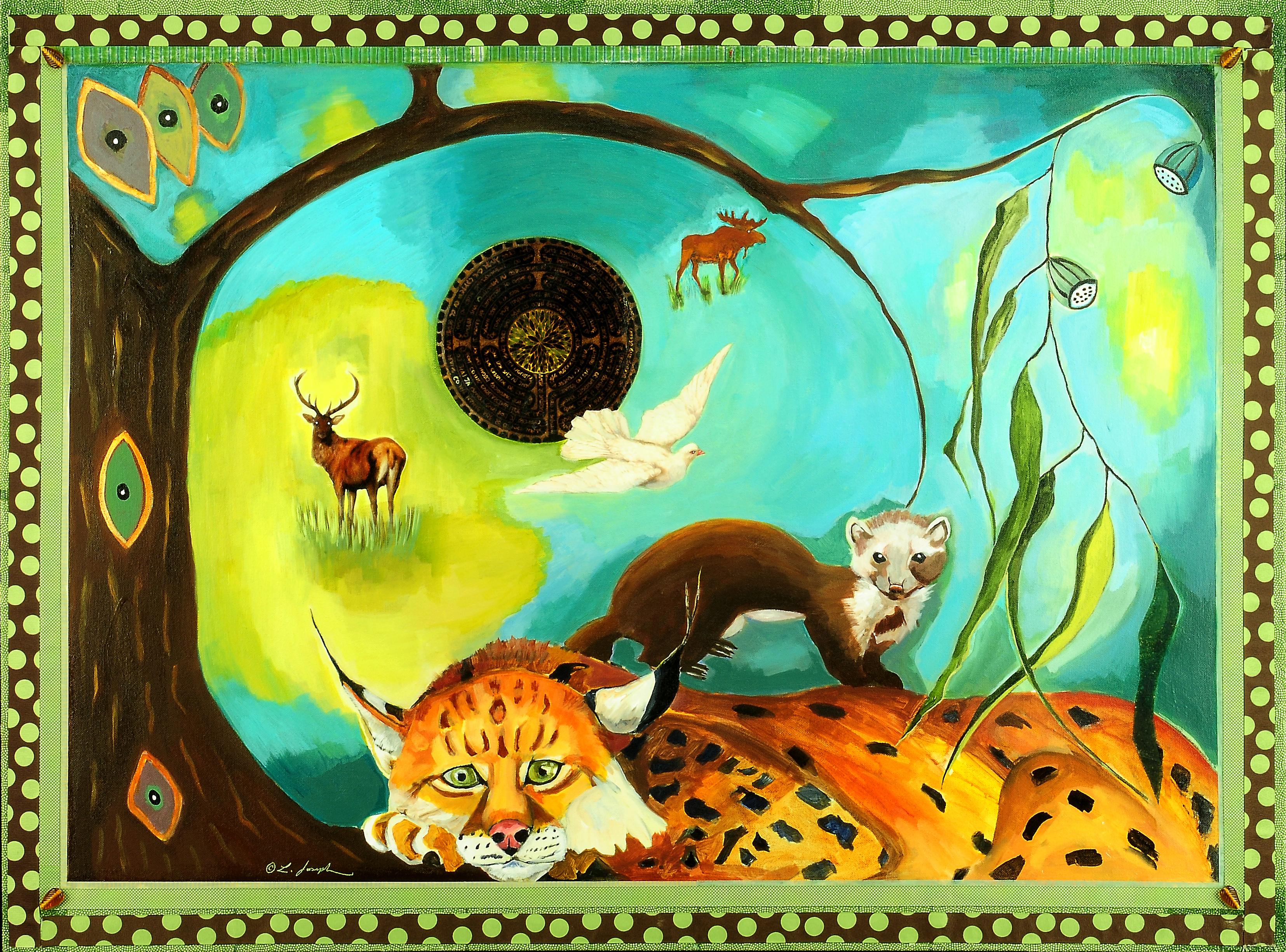 "LynxandWeasel, mixed media on canvas, 30x40"""