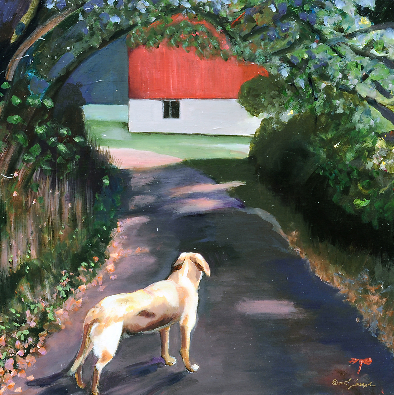 Mika & the Red Barn, acrylic on canvas 20x20""