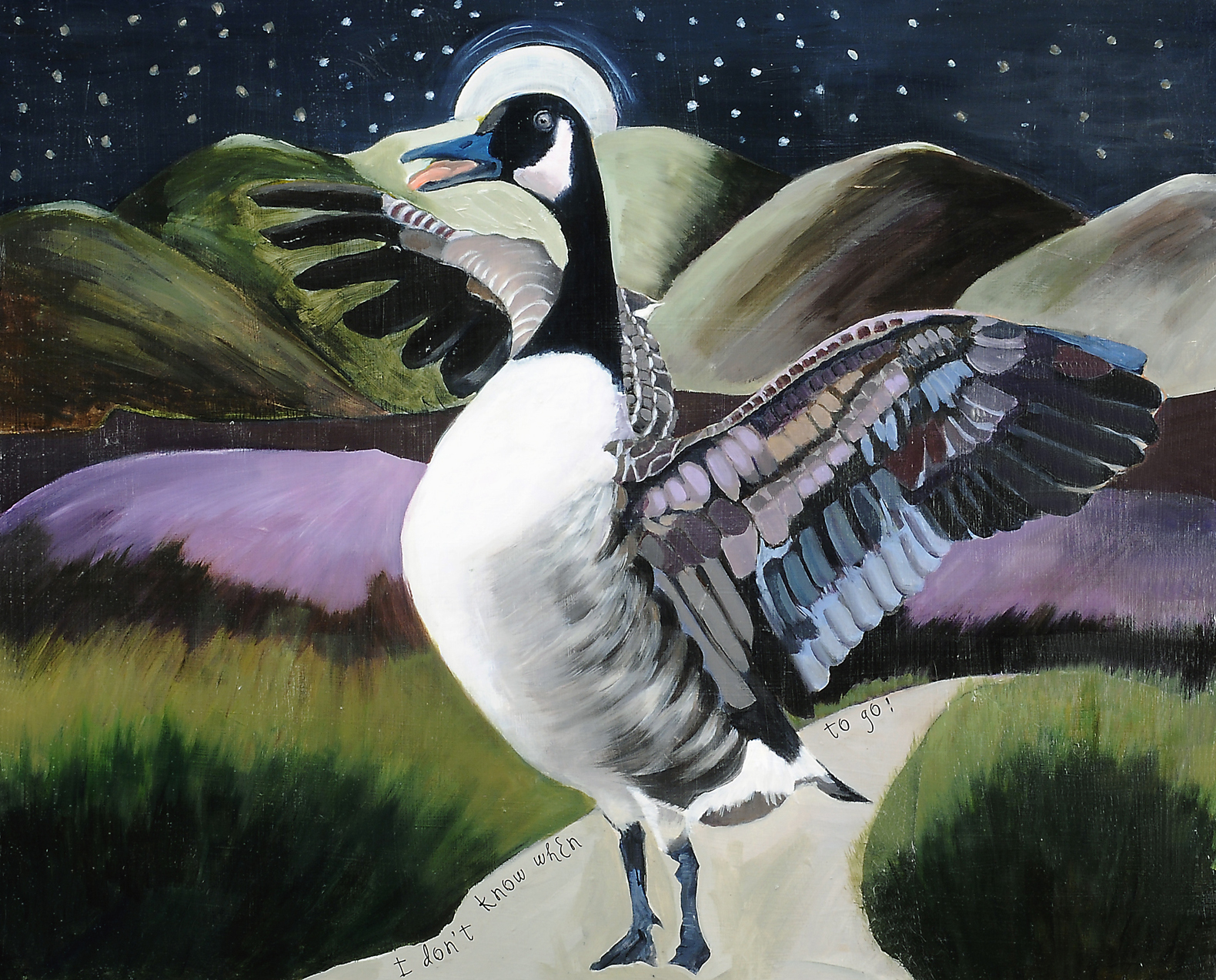 Silly Goose, mixed media on masonite 26x32""