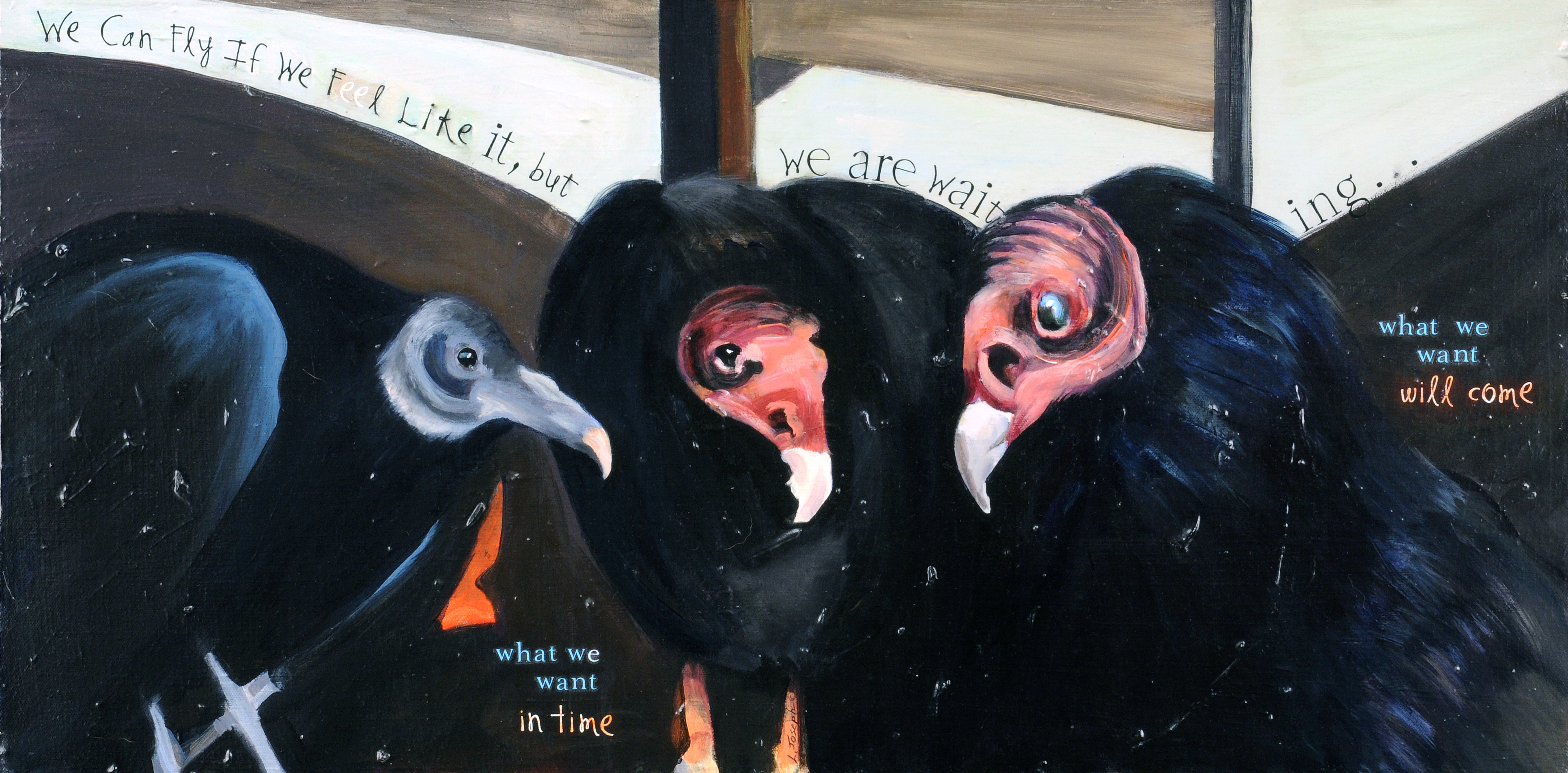 What We Want, mixed media on masonite 15x30""
